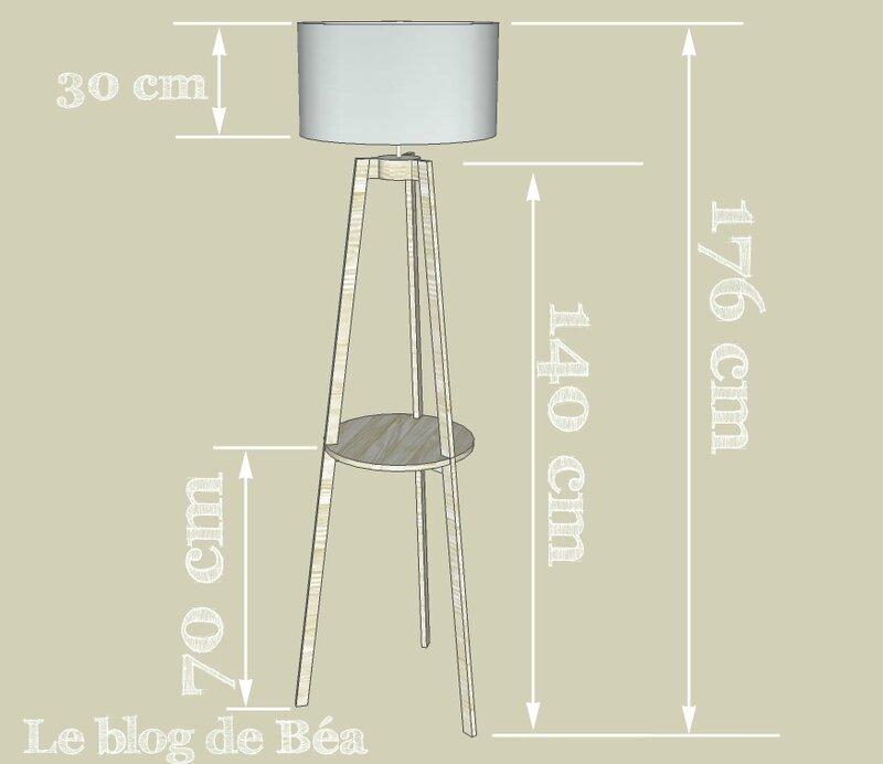 DIY lampadaire tripode avec tablette en bois de palette