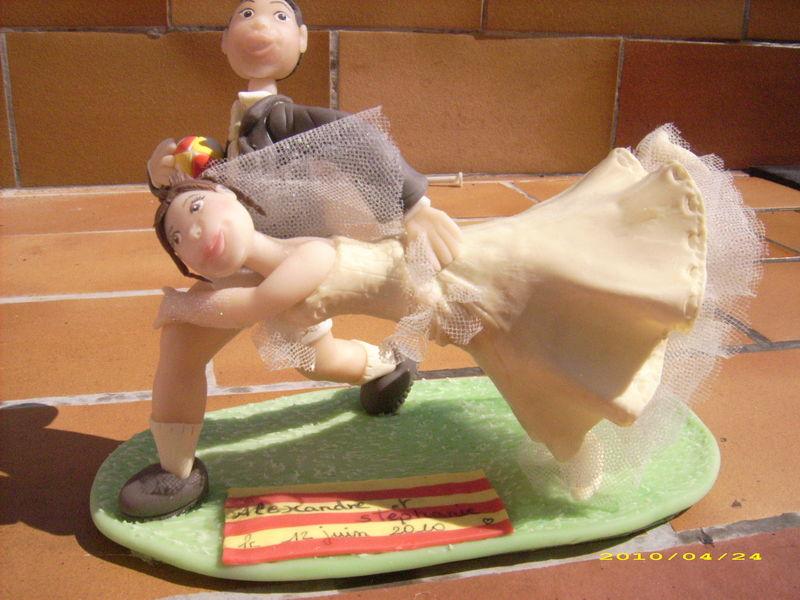 figurine à gateau mariage theme rugby