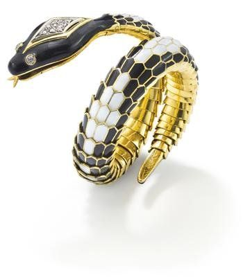 An_enamel_and_diamond_snake_bracelet