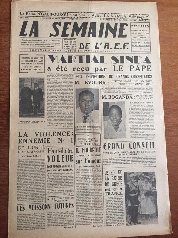 La semaine africaine Martial Sinda reçu par le Pape couv