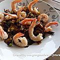 Crevettes au gingembre et aux poireaux