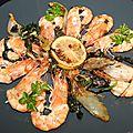 Gambas (ou grosses crevettes) à l'endive et herbes sauvages