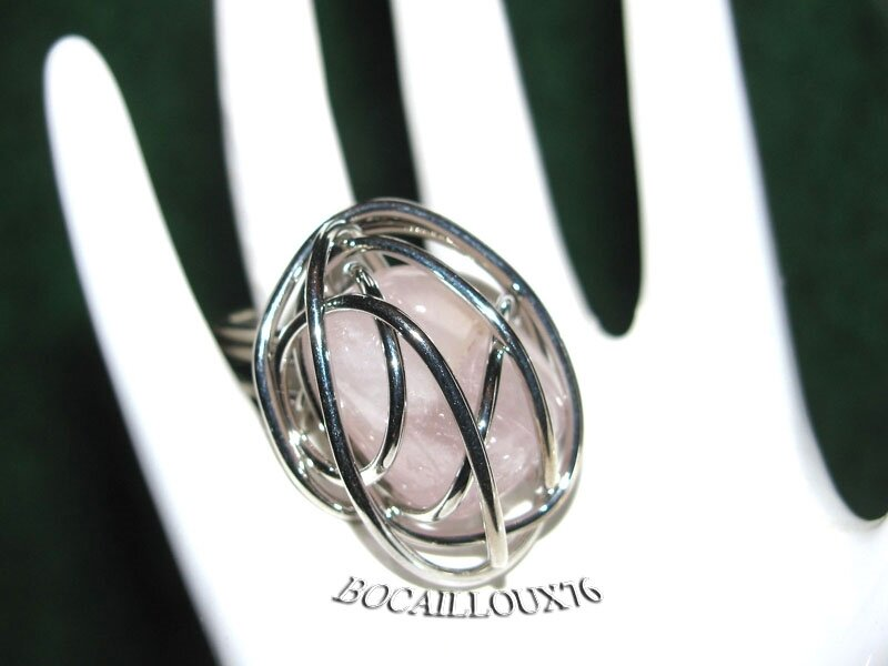 BAGUE Cage QUARTZ Rose 9 - T50 - Monture ARGENTEE