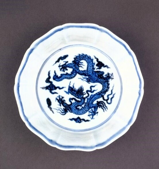 Fluted brush-washer, Ming dynasty, Xuande mark and period, AD 1426–35