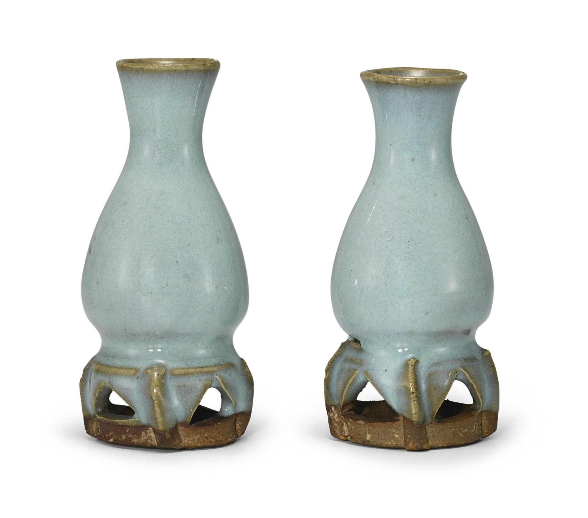 A pair of small Junyao blue-glazed vases, Jin-Yuan dynasty
