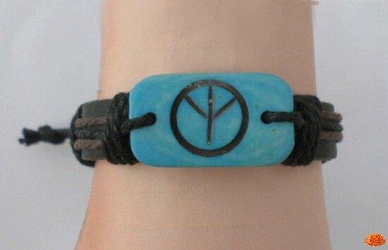 Bracelet Cuir Tressé Style Surfeur Perle Turquoise Peace In Love Réglable Unisexe