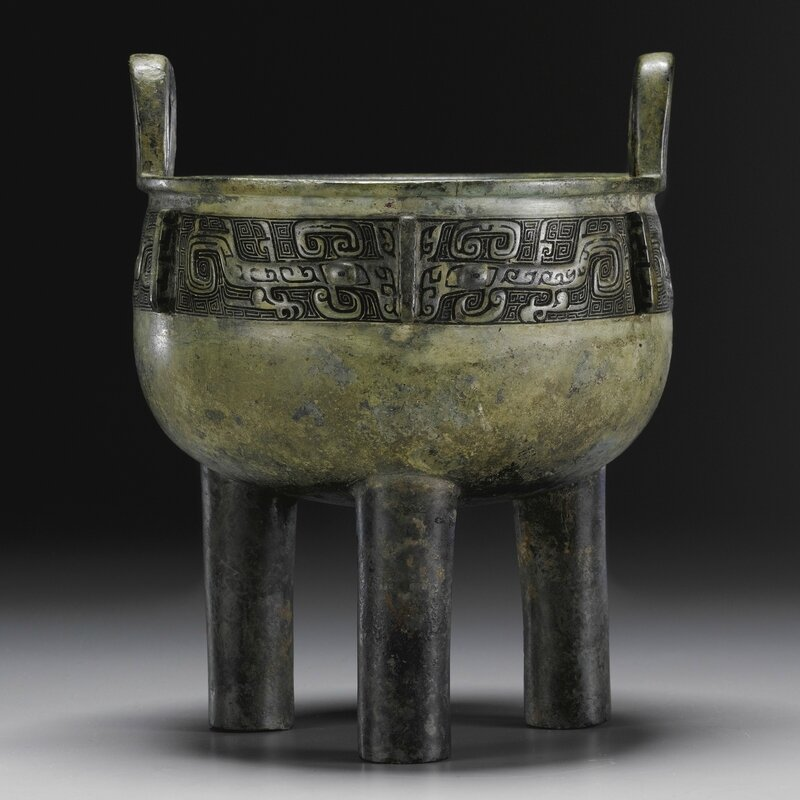 An archaic bronze ritual food vessel, ding, Shang dynasty, 12th-11th century BC