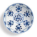 A well-painted blue and white lobed bowl, mark and period of xuande (1426-1435)
