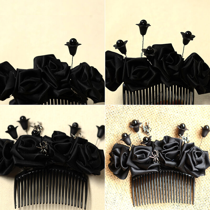 Halloween-Hair-Accessory-How-to-Make-a-Ribbon-Flower-Hair-Comb-7