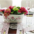Quand on aime, on ne compte pas....et donc, voilà la 2ème table de l'année, avec des hortensias. table