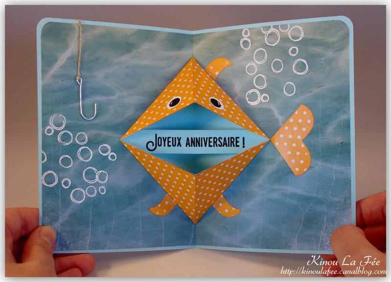 Carte pop up poisson rouge 3
