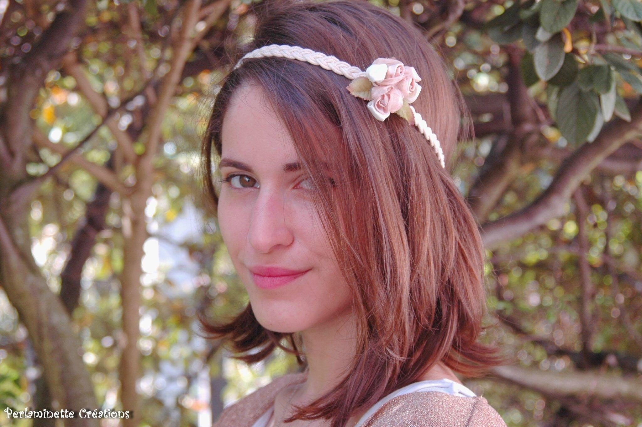 Headband serre tête roses tons ivoire capuccino pour mariées bohème chic
