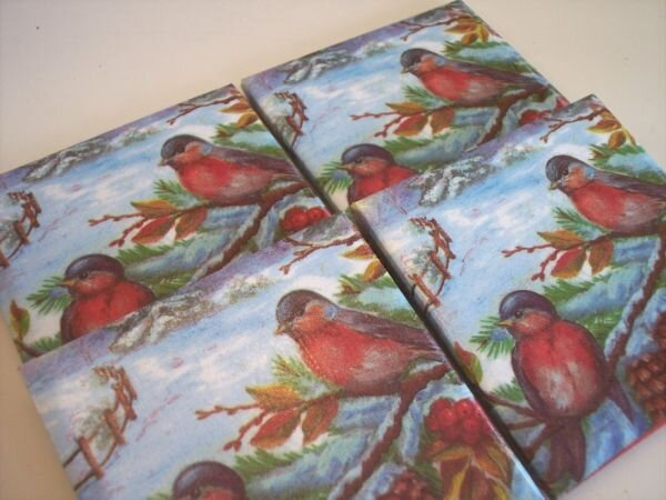 Red birds Christmas coasters