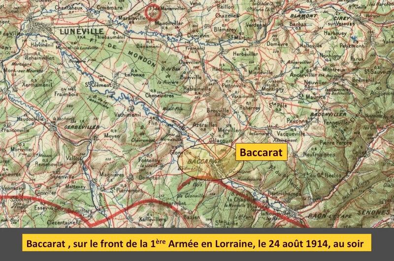 Baccarat sur le front, 24 août 1914, légendé