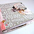 Un mini album avec les papiers des ateliers de karine