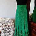 Jupe de flamenco verte à pois noir