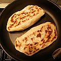 Naans bacon, champignons fromage