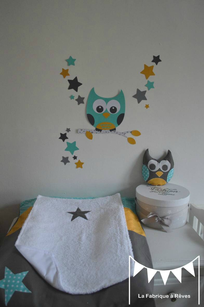 décoration chambre enfant mixte turquoise jaune moutarde gris hibou ...