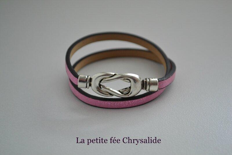 Bracelet cuir rose craquelé(2)