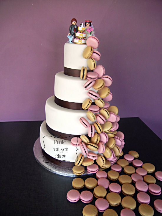 wedding cake cascade macarons rose marron playmobil 3