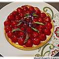 Tarte aux fraises maison et sa creme pâtissiere, coulis de fraises