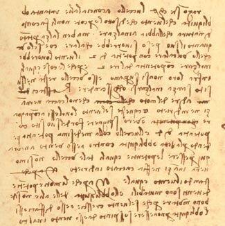 Page manuscrite, par Léonard de Vinci