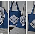 Napperons recyclés en sac tote bag pochon4