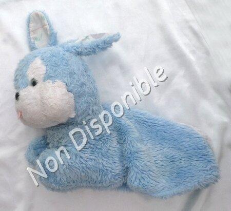 Doudou Peluche Lapin Range Pyjama Bleu Blanc Vintage Nounours