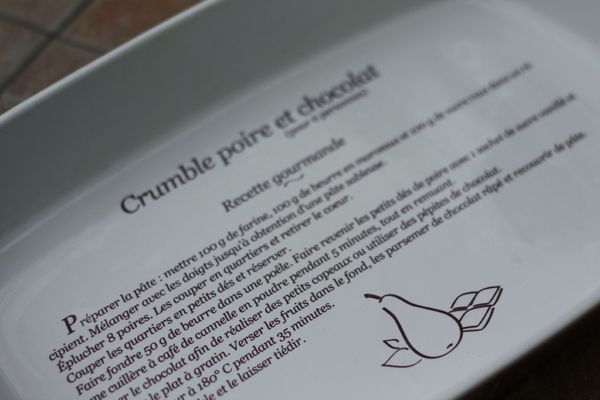 crumble poire chocolat plat blog chez requia cuisine et confidences