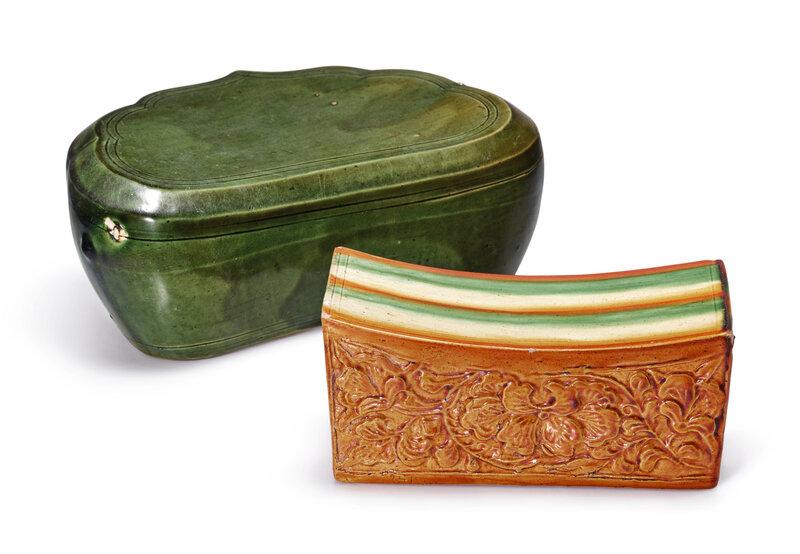 A sancai pillow and a Cizhou green-glazed pillow, Song dynasty (960-1279)