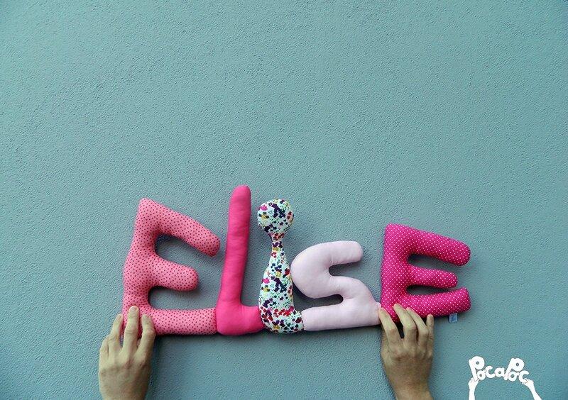 elise,mot deco,mot en tissu,mot decoratif,cadeau de naissance,decoration chambre d'enfant,cadeau personnalise,cadeau original,poc a poc blog