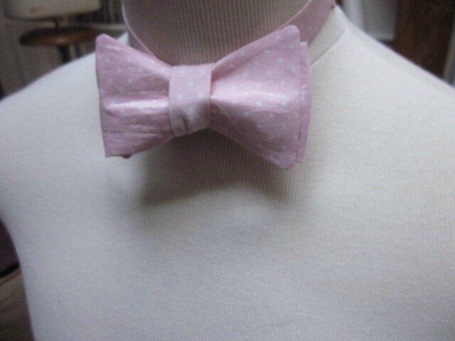 Véritable NOEUD PAPillon en coton rose à pois blancs (1)