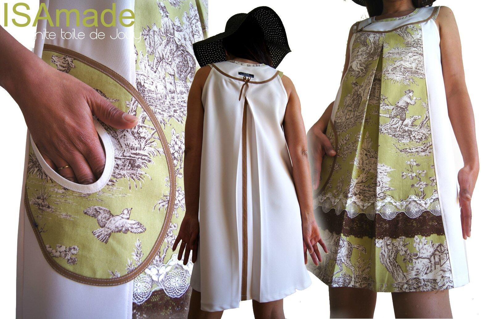 Robe trapèze Romantique Blanc écru à Imprimé Toile de Jouy verte & Dentelles
