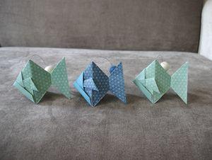 guirlande poisson origami bleu et vert anis boule feutrine