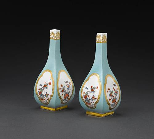 A Very Rare Pair Of Meissen Turquoise Ground Vases From The Japanese