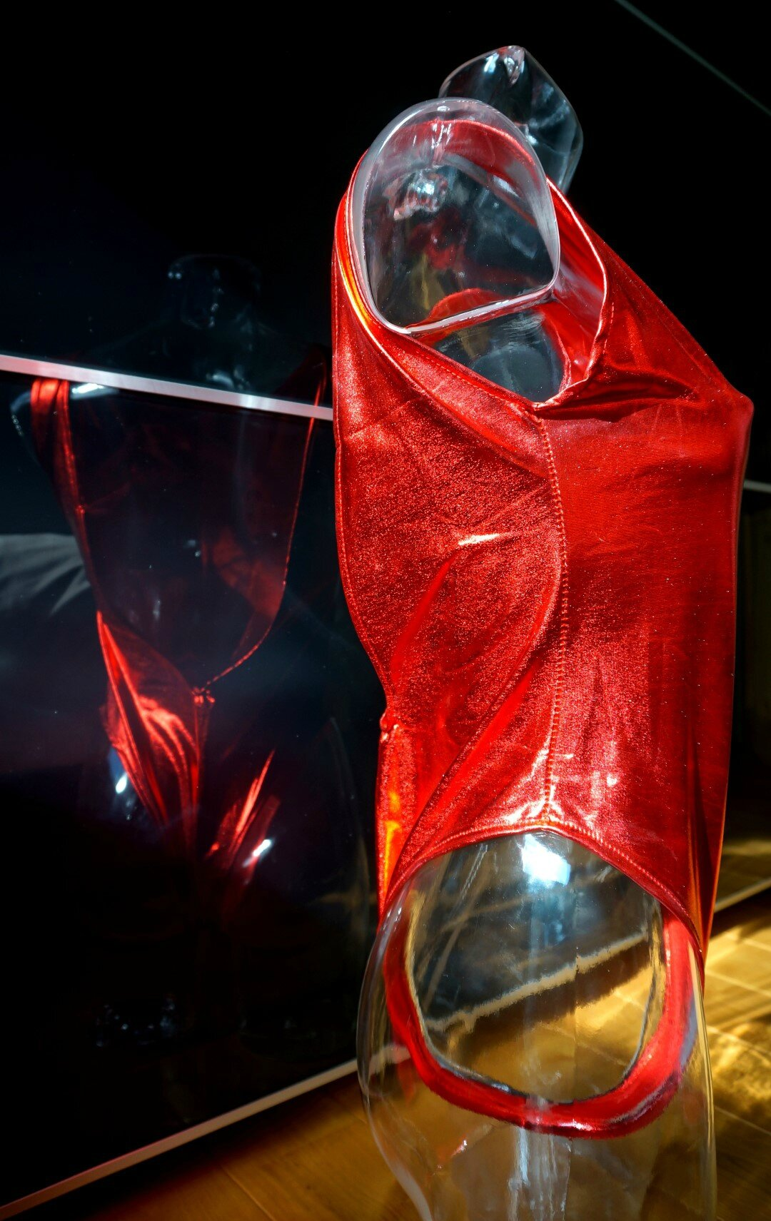 Justaucorps Shyny Rouge lamé