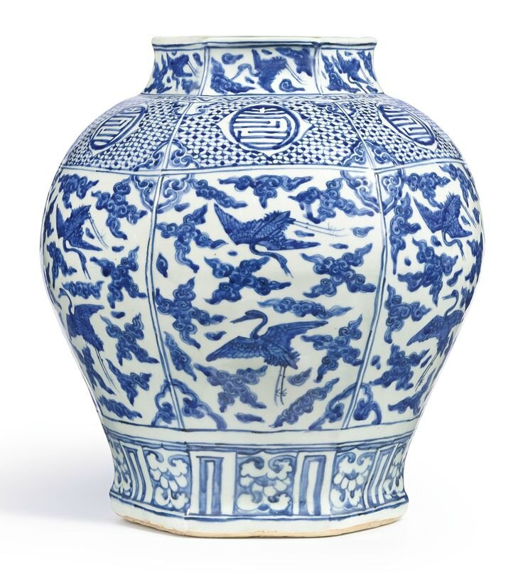 A large blue and white hexagonal 'Longevity' jar, Ming dynasty, Jiajing period