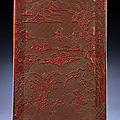 A finely carved cinnabar lacquer rectangular tray, ming dynasty, 16th century