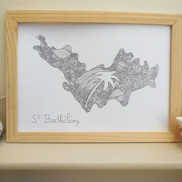 Affiche zentangle St Barthélémy