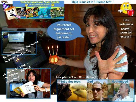 anniversaire blog 3 ans 100 tests les tests de Sophie