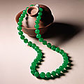 Very fine jadeite and diamond necklace