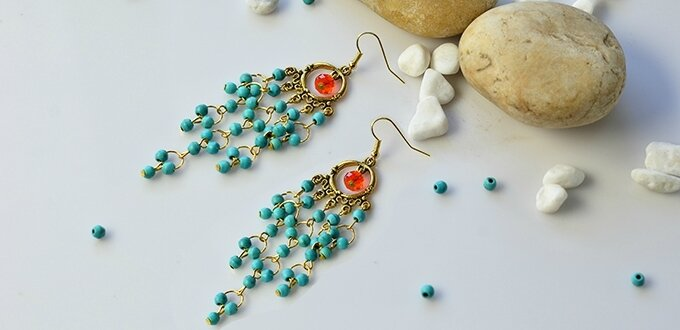 PandaHall Tutorial on How to Make Vintage Style Turquoise Bead Chandelier Earrings 1