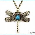 Pendentif libellule perle turquoise strass crystal métal couleur bronze
