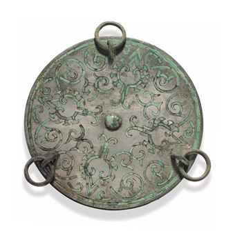a_rare_small_turquoise_inlaid_silvery_bronze_circular_mirror_with_ring_d5540010h