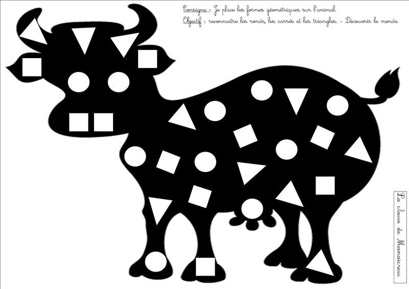 jeu formes vache