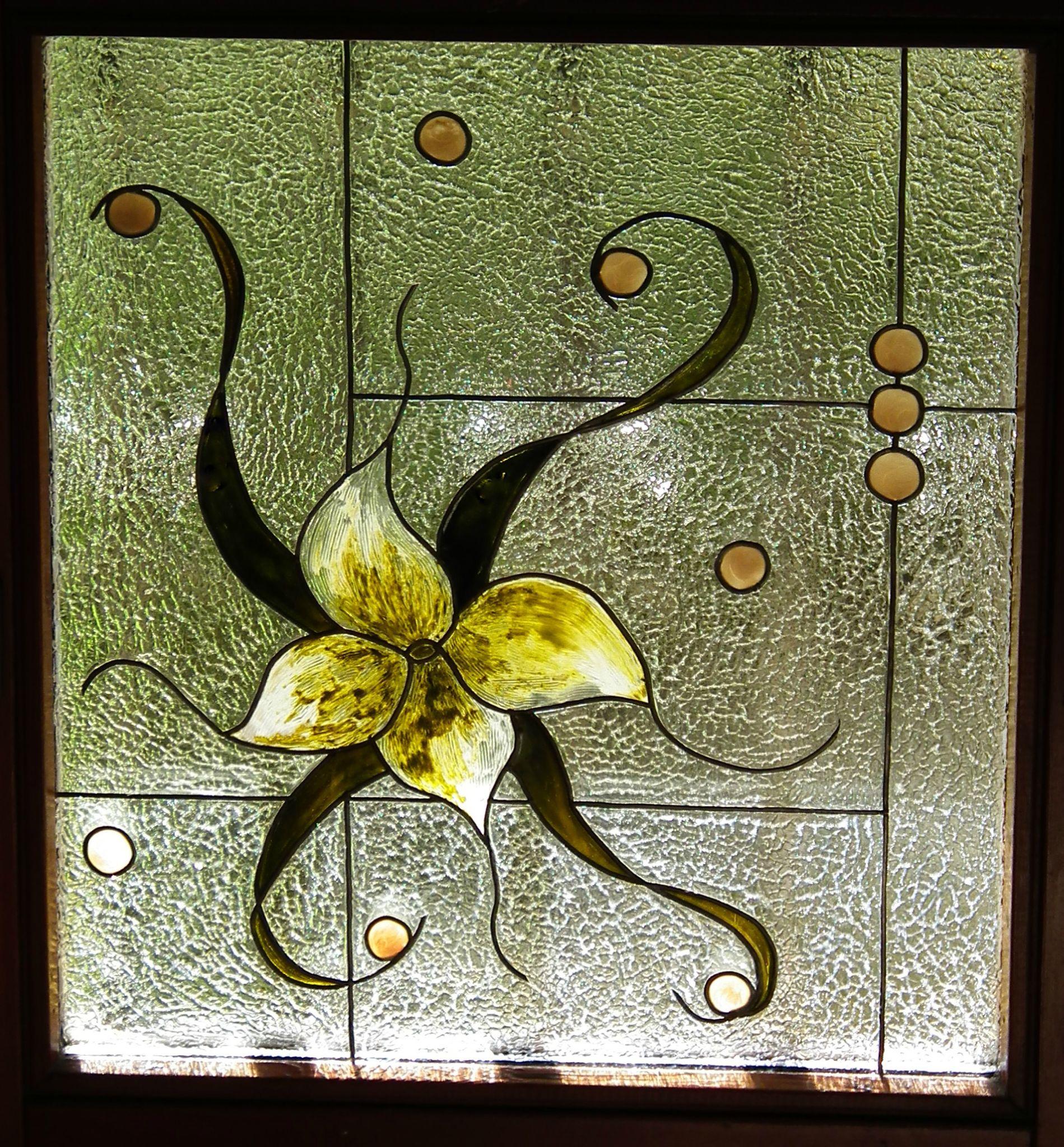 vitrail, fenêtre du couloir