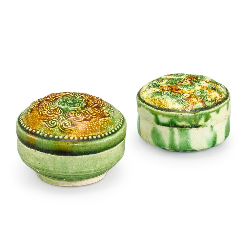 Two sancai-glazed boxes and covers, Tang dynasty (618-907)