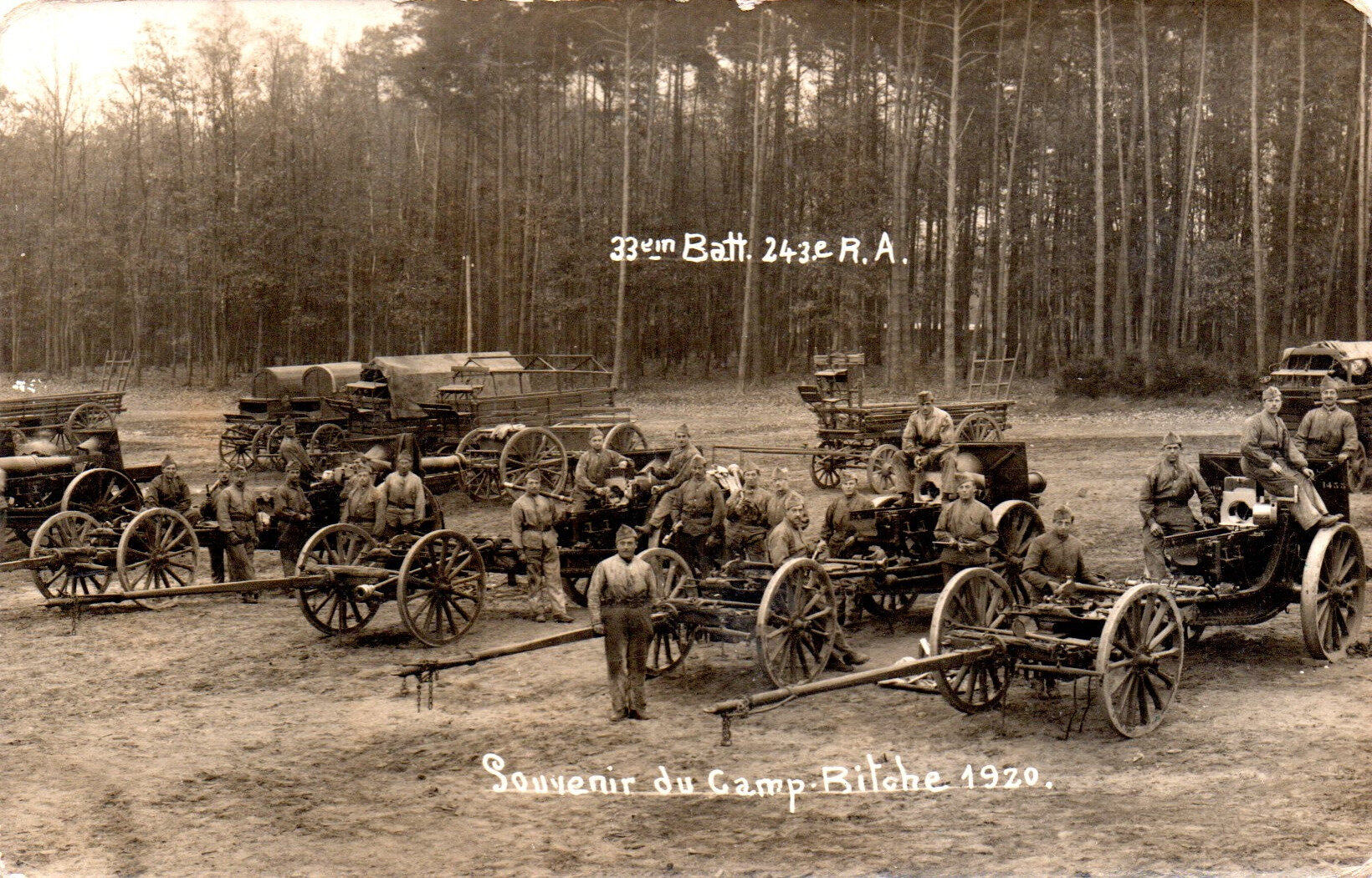 Occupation de la Rhénanie, Souvenir du camp de Bitche, 243e RAC 33e batterie, novembre 1920