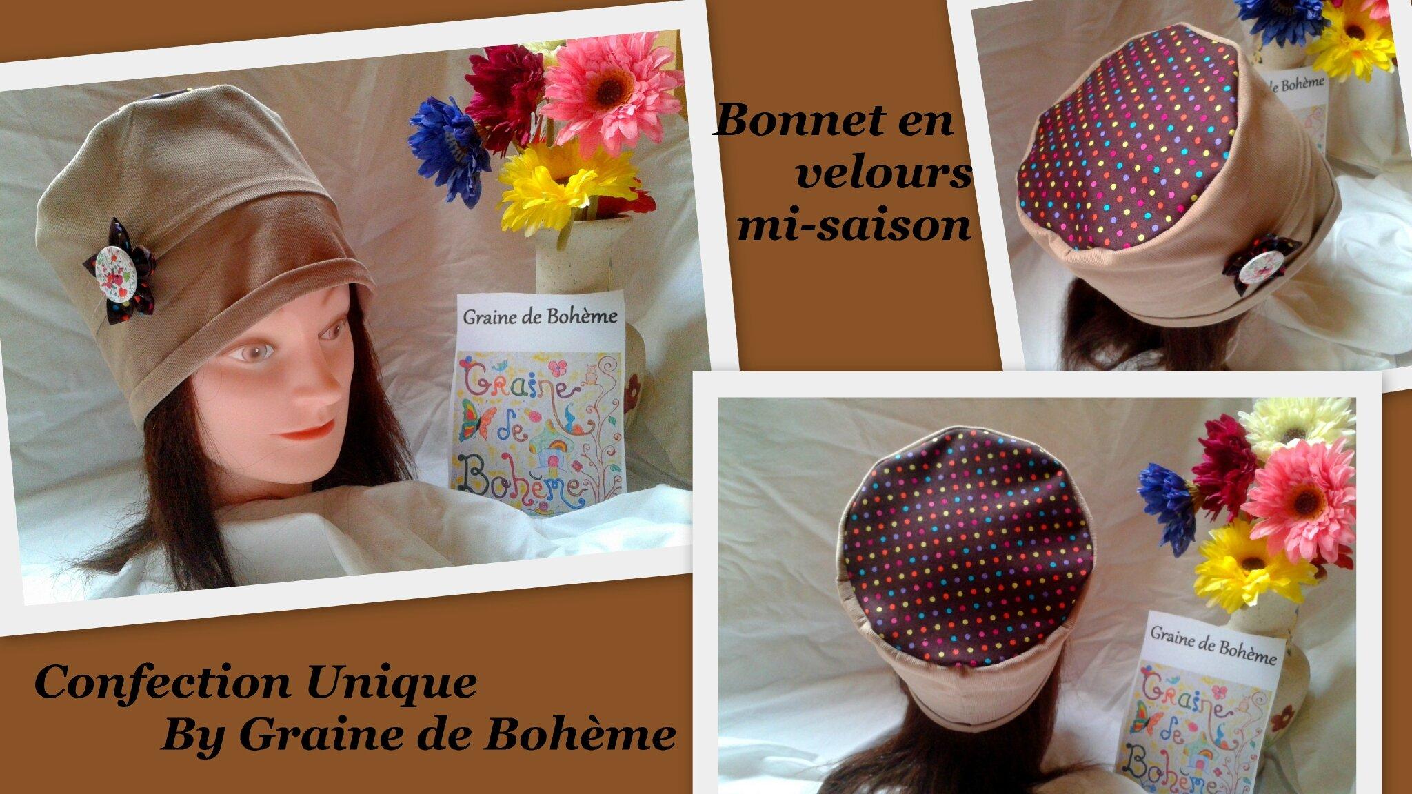 Bonnet Velours Mini Dots