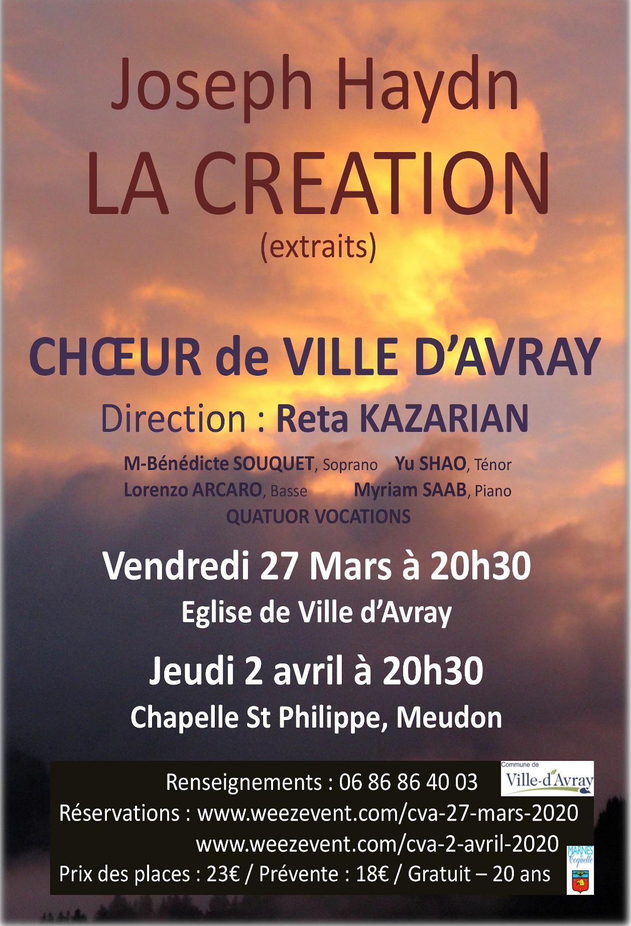 Concert La Création de J.Haydn les 27 Mars et 2 avril